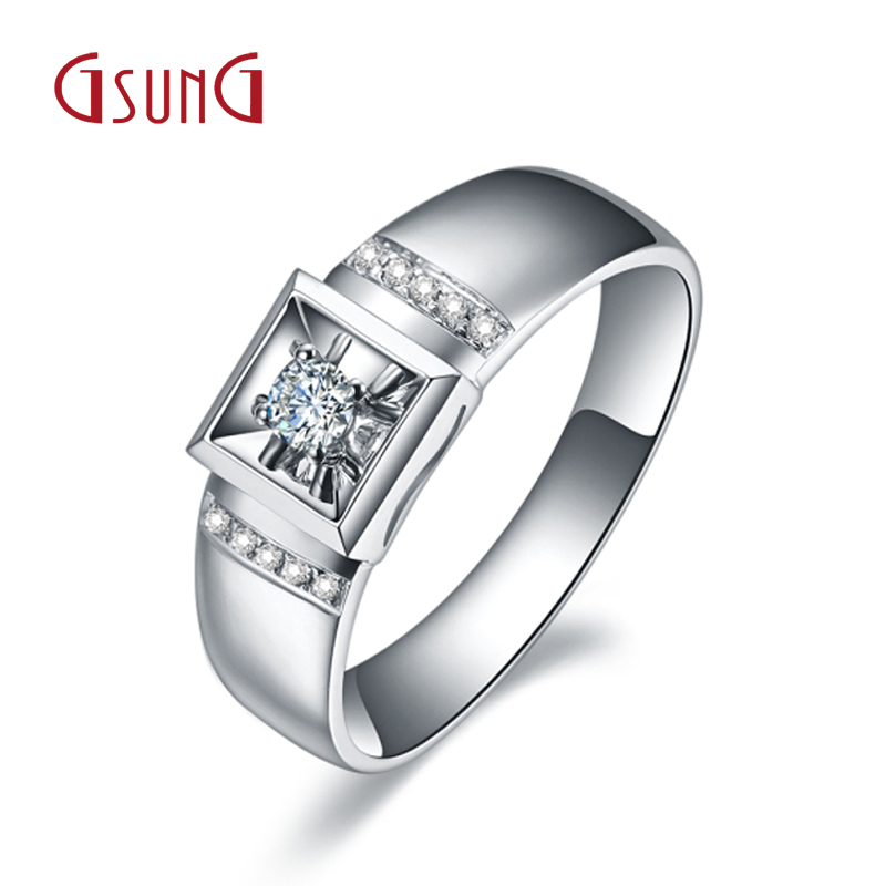 Gsung kyrgyzstan kyrgyzstan jewelry au750 k white gold diamond ring men's high elegant business ring diamond ring inlaid group