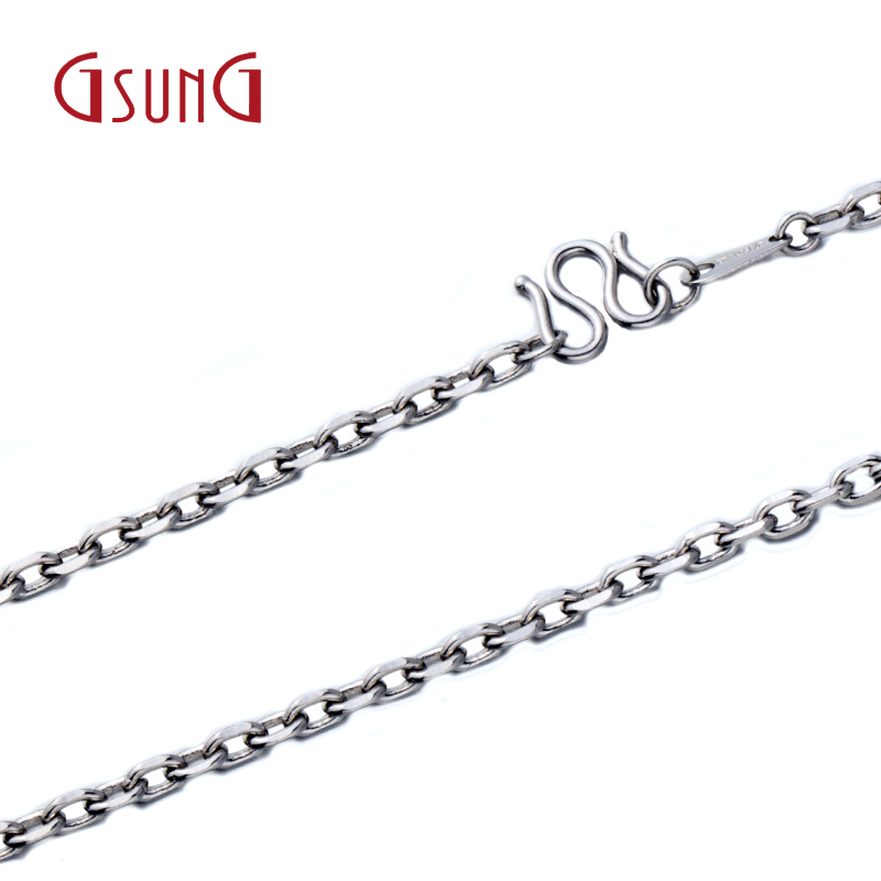 Gsung kyrgyzstan kyrgyzstan pt950 platinum jewelry gold necklace classic buckle chain cross necklace for men and women universal custom