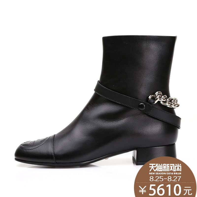 Gucci/gucci/gucci/gucci ms. authentic shoes leather low heel boots thick with duantong knight boots