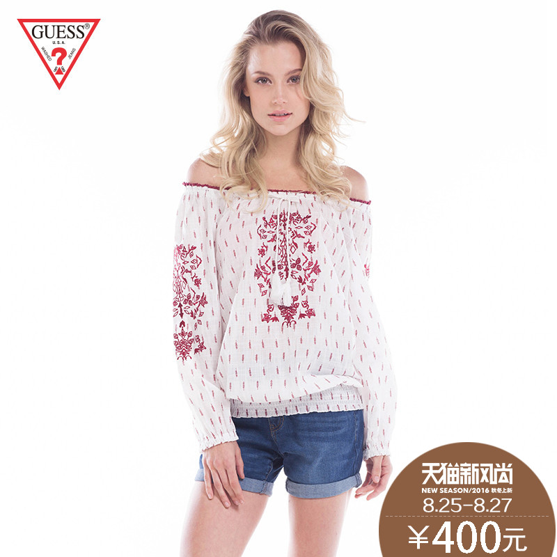 Guess embroidery 16 spring and summer ladies sexy strapless collar loose version of sleeved shirt-yg 1W2257