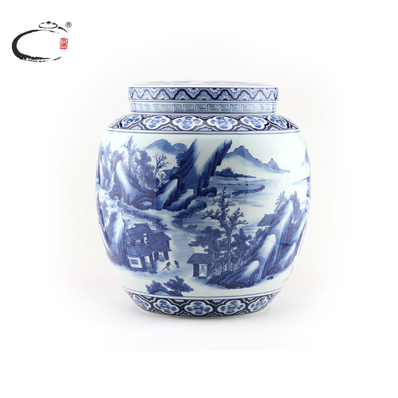 Gui xiang blue landscape of emperor kangxi of the end of jingdezhen porcelain hand painted ceramic tea caddy sealed cans wake chaguan canister
