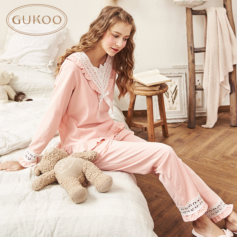 Gukoo/nutshell the20-30th days of autumn and winter sweet princess wind lace v-neck long sleeve pajamas female suit tracksuit