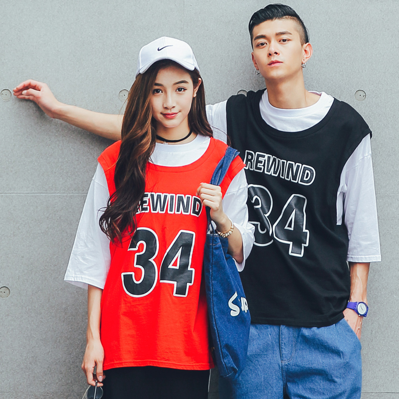 Hahn qlz student basketball shirt lovers 2016 summer new korean version of the influx of fake two sleeve t-shirt lovers