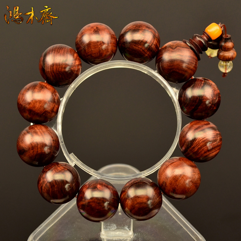 Hainan yellow rosewood tumor scar bracelets men bracelets 19mm high density beads avocado old root material solitary H3866