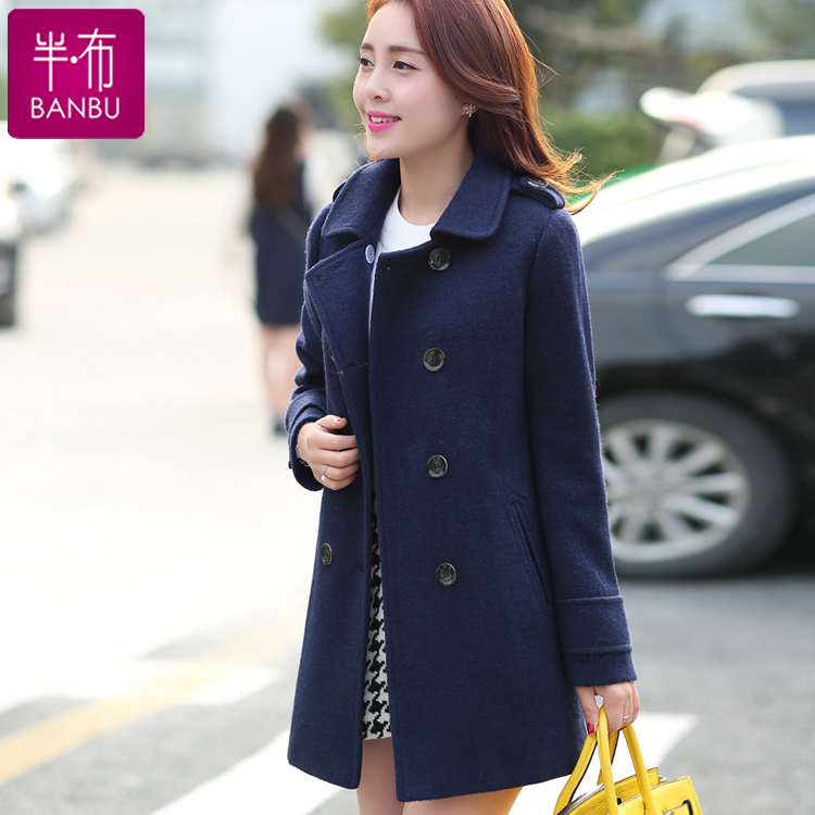 Half cloth autumn 2016 women's autumn and winter woolen coat korean slim woolen long section woolen coat in spring and autumn