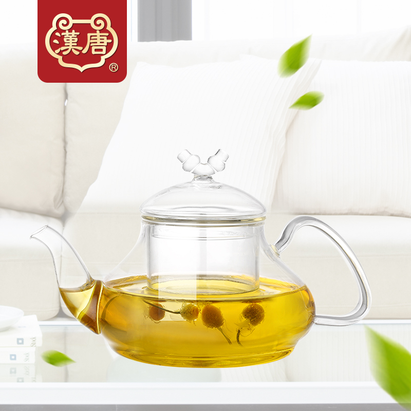 Han and tang tea creative flower pot heat resistant glass teapot teapot tea filter washable liner fruit tea