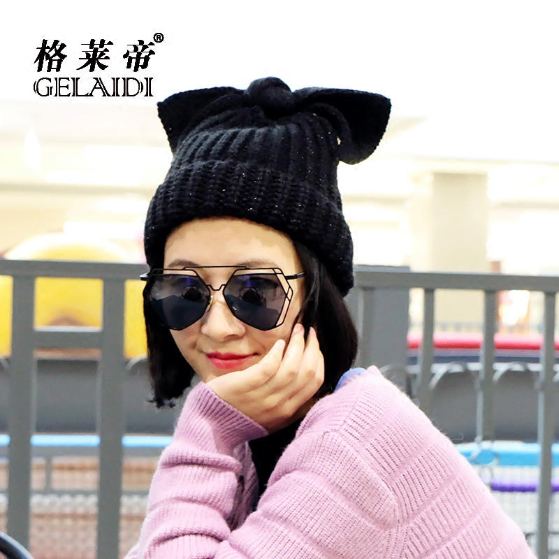 Han guoqiu winter hat female rabbit ears bow blending thick wool hat knitted hat ear cap korean tidal
