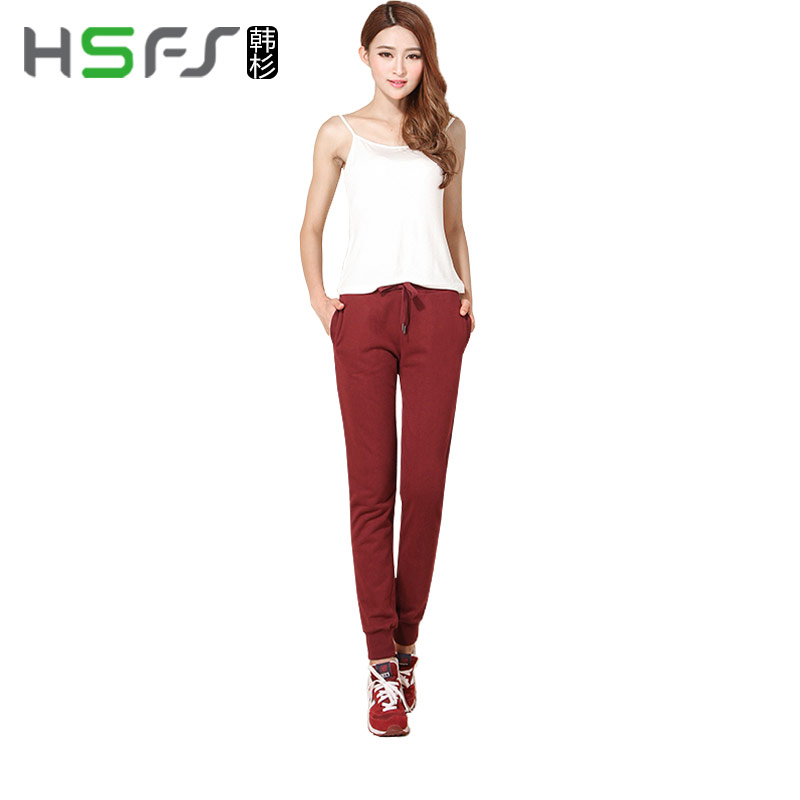 Han shan autumn women's sports pants trousers spring thin section breathable knit pants casual pants jogging pants shut feet
