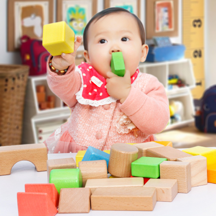 Han yu 32 yuan children made wooden barrels chunk baby educational toy building blocks 1-2-year old 3-6 Boys and girls