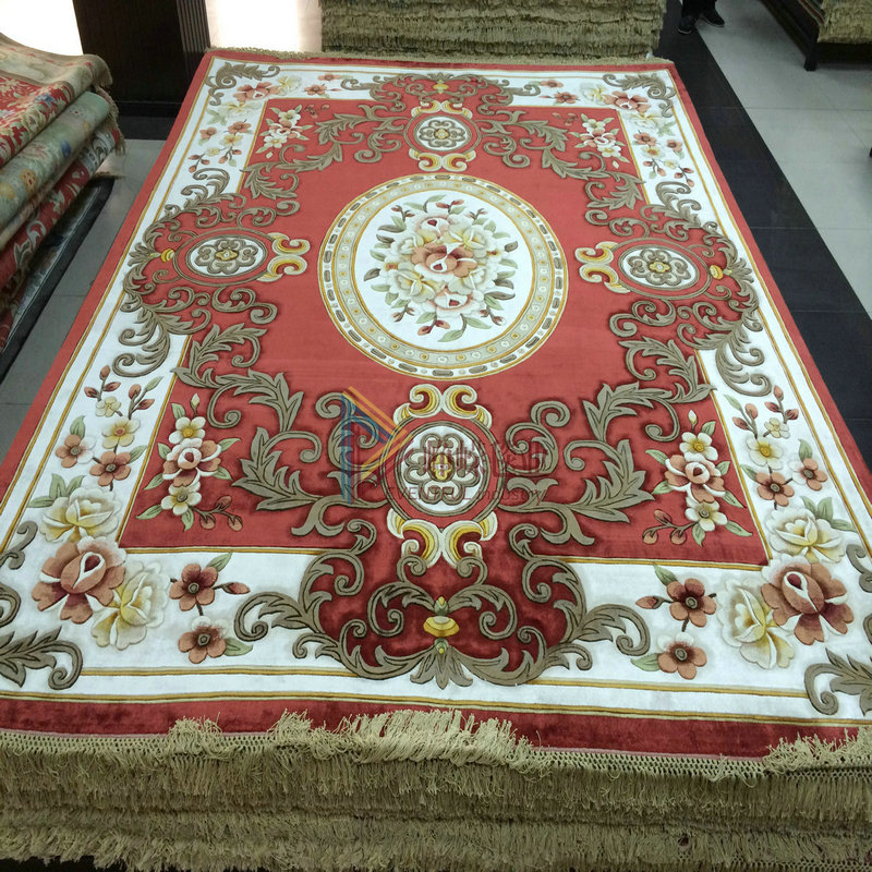 Hand knotted silk * silk carpet bedroom carpet carpet living room carpet * * villa red custom