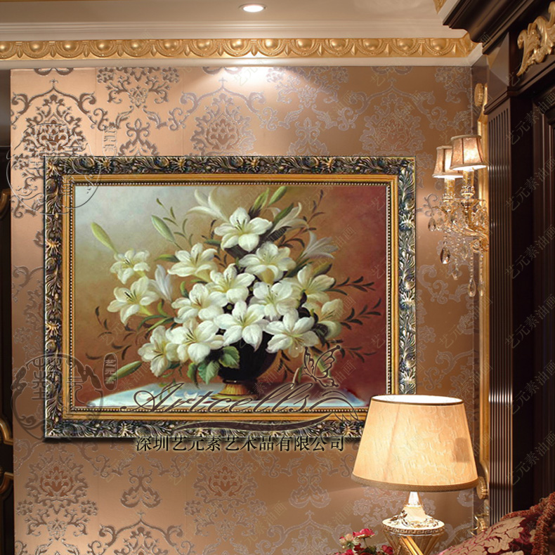 Hand painted oil painting flowers lilies after modern european restaurant entrance living room fireplace decorative painting framed YHX002