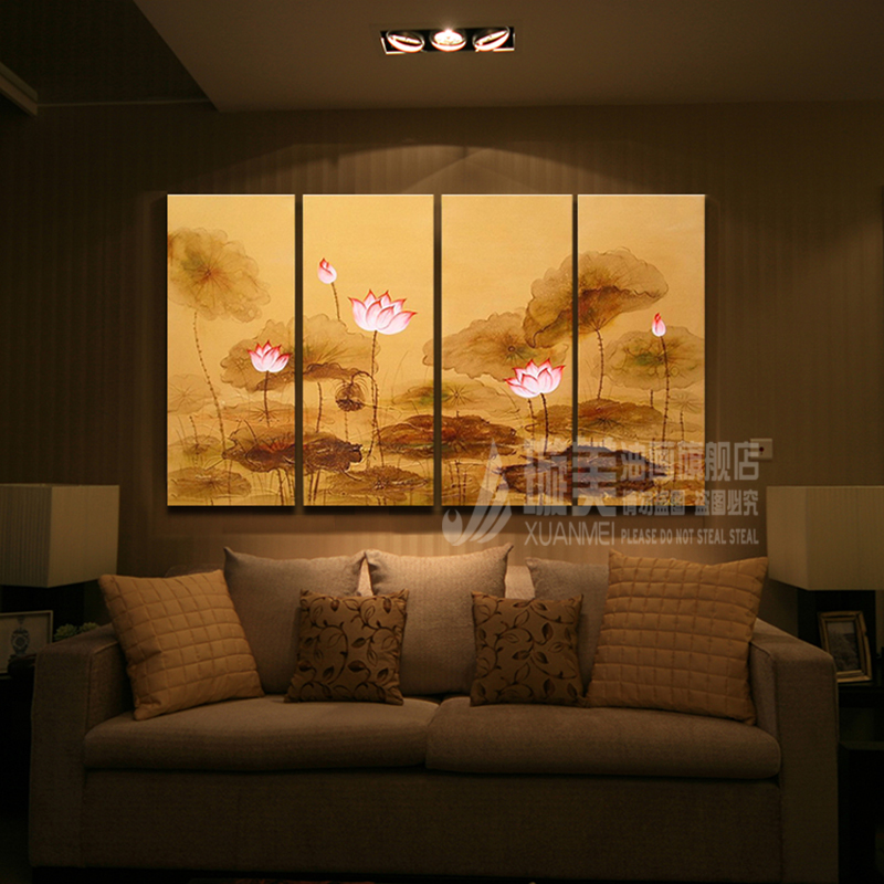 Hand painted oil painting of european modern dining hall living room quadruple combination flower gold decorative painting lotus pond wind king