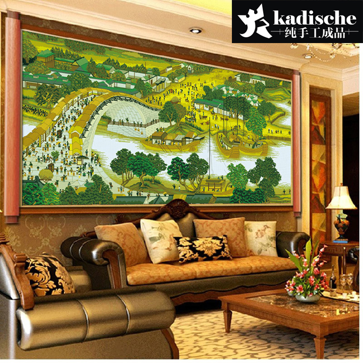 Handmade embroidery stitch finished a substantial new living room landscape painting panorama chinese ming painting