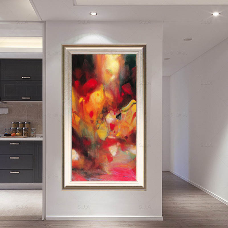 Handmade oil painting abstract vertical painting framed painting modern art painting painted wine shop decorative painting mural entrance