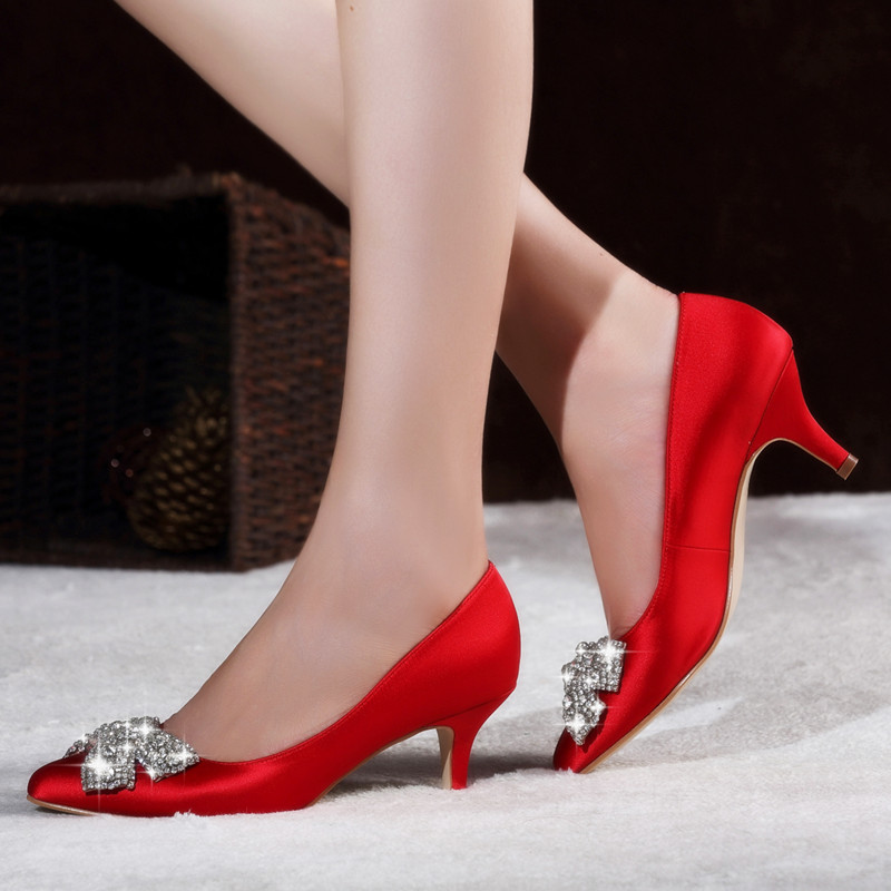 Handmade rhinestone bow with fine with wedding shoes red champagne bridal shoes low heel shoes women shoes red shoes spring and autumn