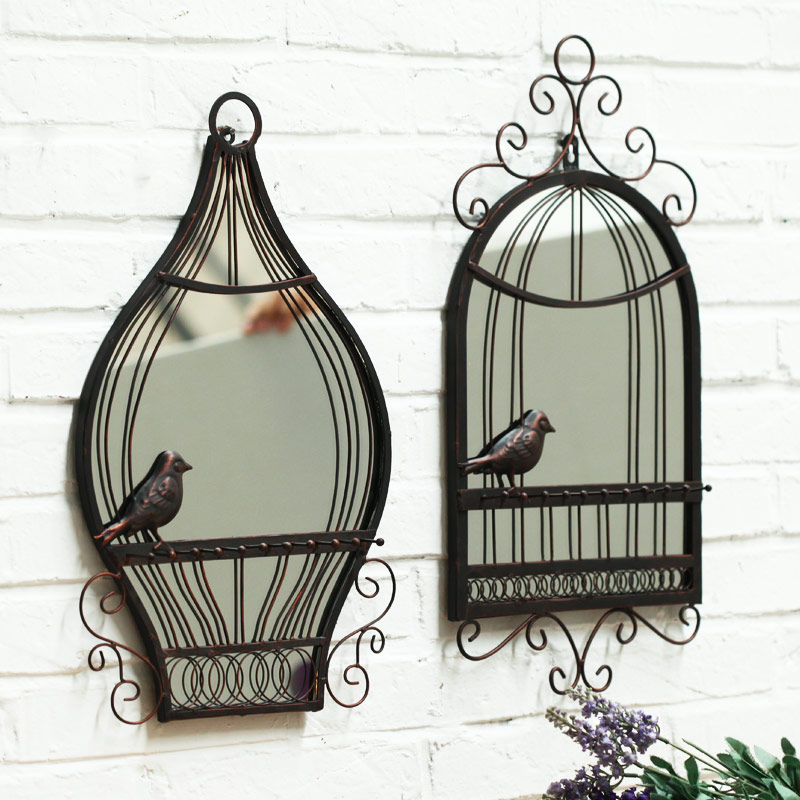 Handmade wrought iron birdcage european mirror decorative wall hangings creative home decorations wall hanging bar continental wall