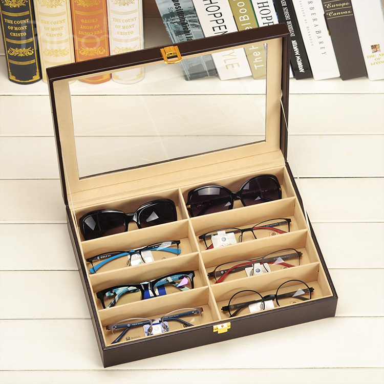 Hang fai leather finishing box storage box leather glasses case glasses sunglasses sunglasses display box more than 8 gretl collection box