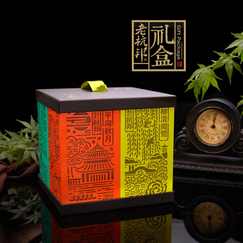 Hang old state dim light boxes [] hangzhou specialty gourmet pastry dessert ceremony boxed features snack gift