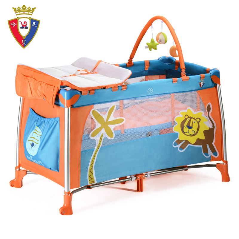 Hani bei new european blue green baby bed bb variable multifunction folding bed playpen with tubes