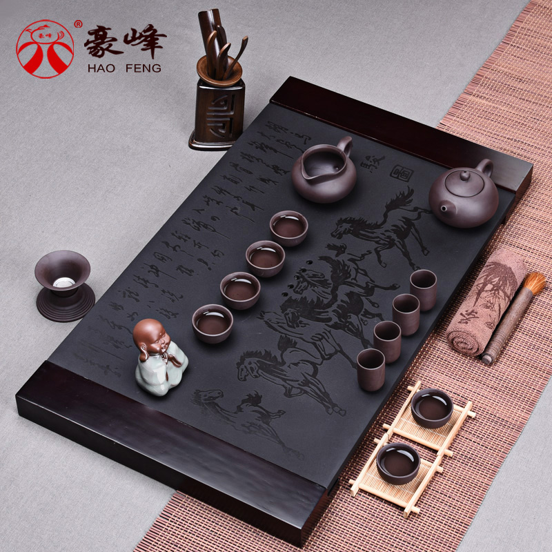 Hao feng entire tea sets black stone black stone tea tray tea sea of purple binglie ru glaze gong fu tea set