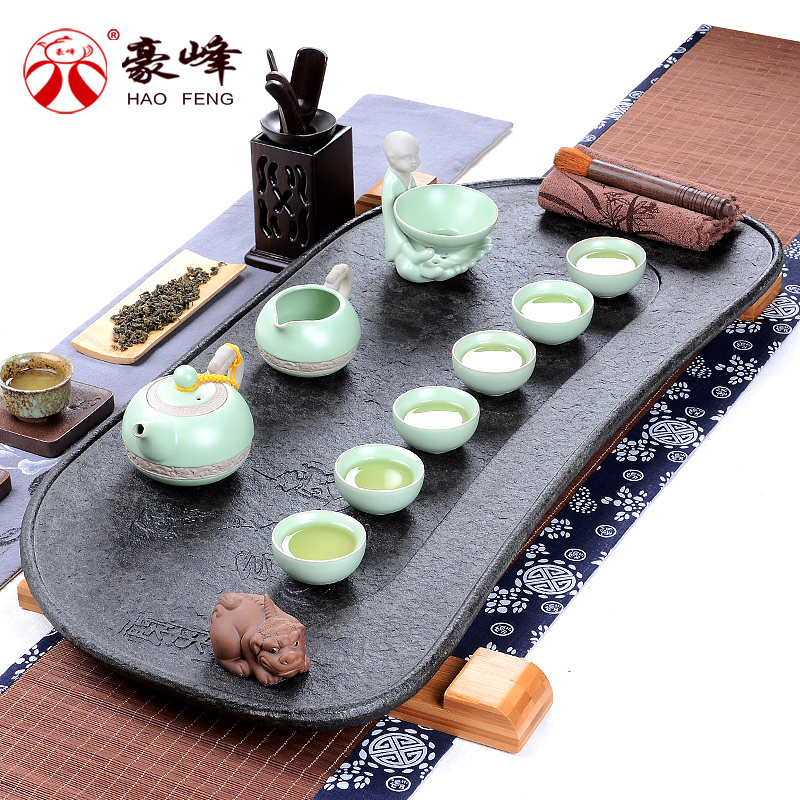 Hao feng tea tray black stone tea tray tea sea suit entire kung fu tea black stone stone stone