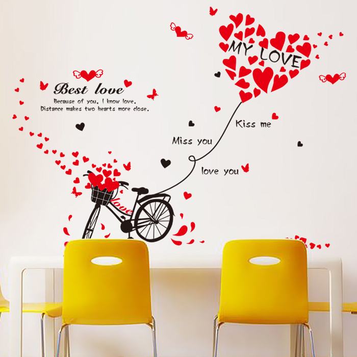 Happy marriage room bedroom living room sofa background decorative wall stickers wall stickers romantic couple cycling love love klimts