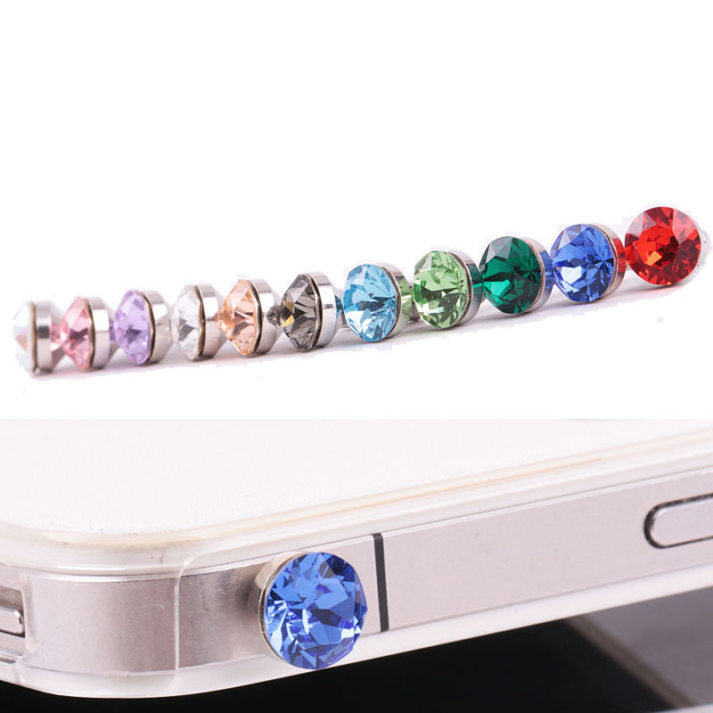 Happy rabbit mobile phone headphone jack dust plug headphone plug 5mm headphone jack dust plug crystal diamond metal flashing