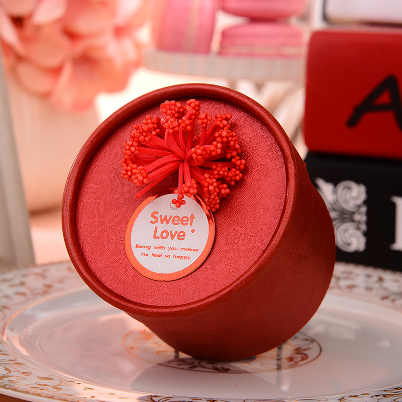 Happy tree wedding supplies korea pe flower candy box cylinder continental finished candy box creative candy box round