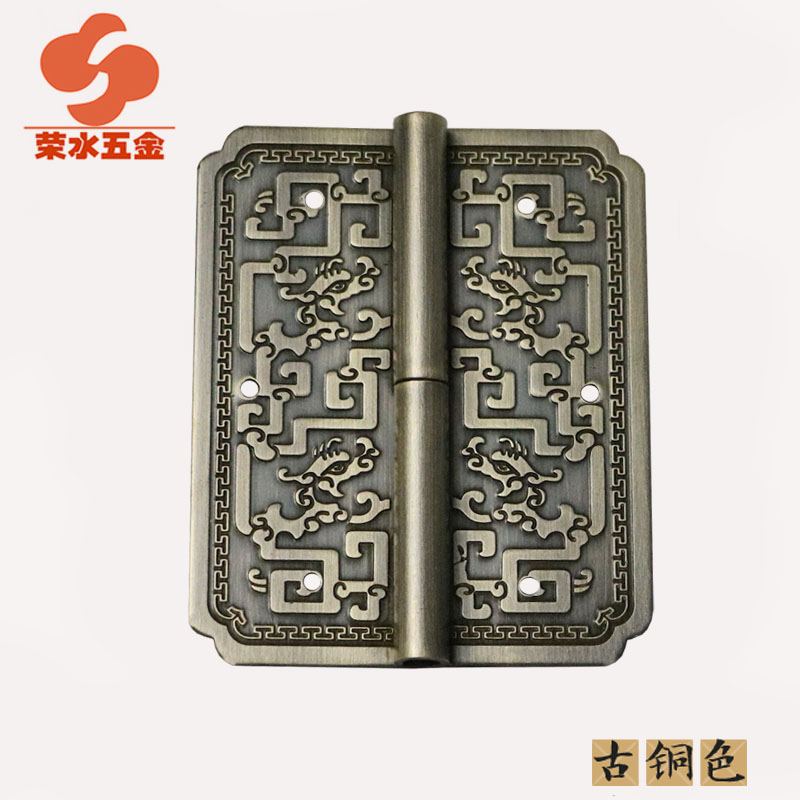 [Hardware] water wing ming and qing furniture antique copper fittings/8cm long carved hinge/copper hinge E-101