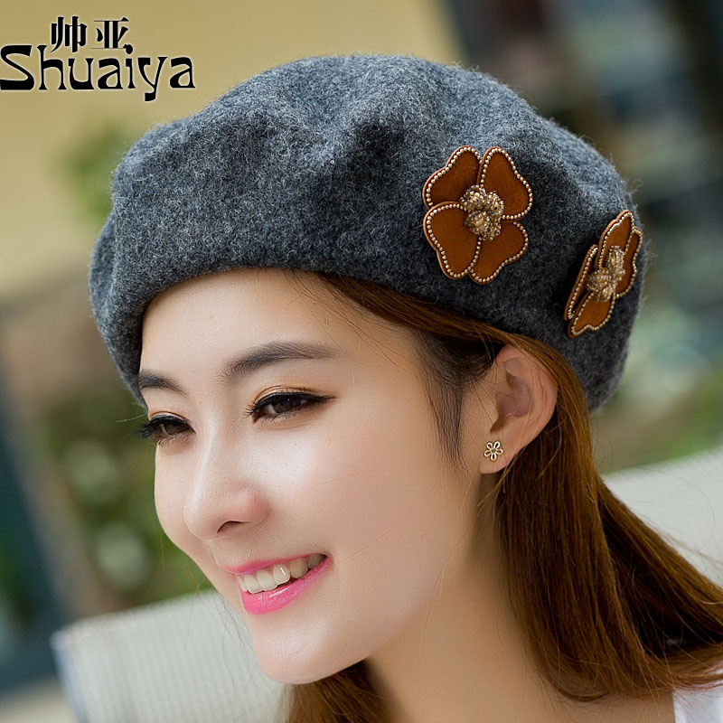 be63fc7daab Get Quotations · Hat female korean tidal bud painter cap beret hat autumn  and winter hat lady winter wool