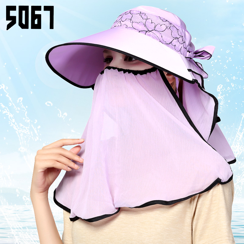 Hat female summer sun hat large brimmed sun hat cycling summer sun hat covering her face outdoor uv electric car
