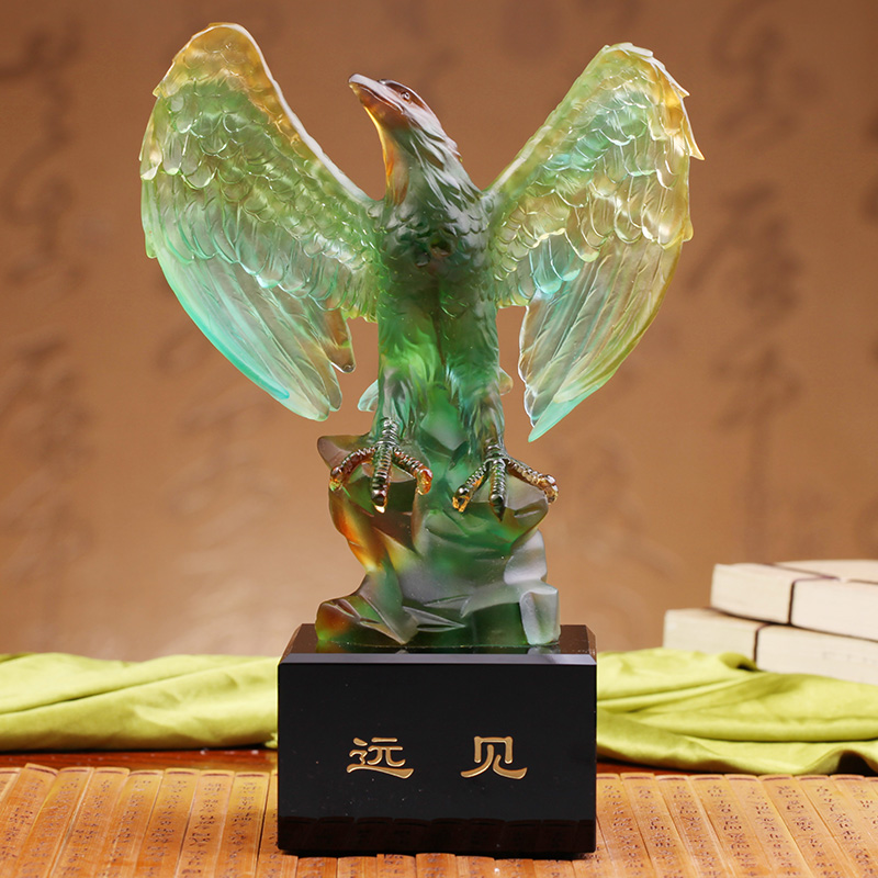Healing glass eagle vision new home living room decoration stylish modern furniture crafts ornaments home furnishings