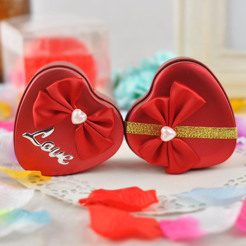 Hei yan heart tin candy box wedding supplies wedding candy box candy red candy box creative custom