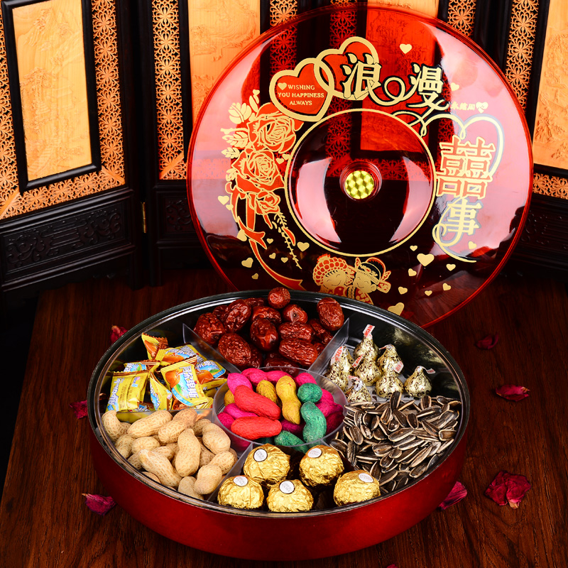 Hei yan large candy dish dried fruit compote dish with lid compartments creative fashion wedding candy box can be rotated