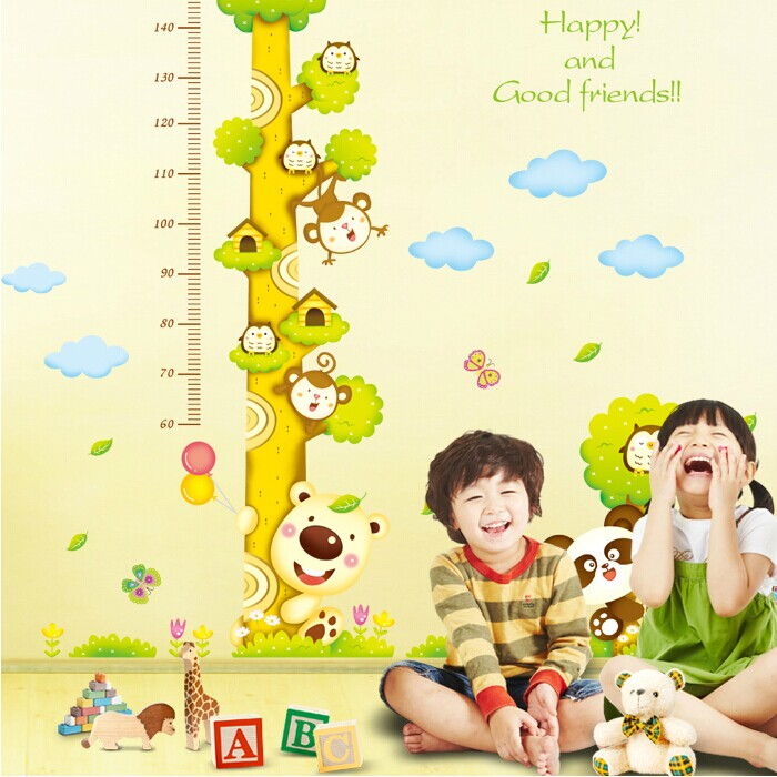Height stickers removable wall stickers mural wall stickers cartoon sticker kindergarten classroom children's height living room background