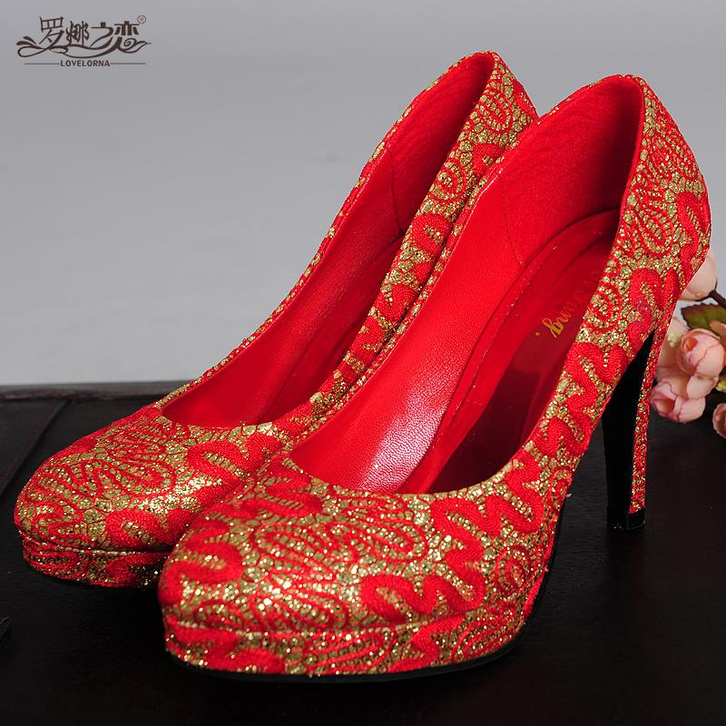 Hellcopter love 2016 spring new fine with high heels shoes red wedding shoes bridal shoes wedding dress gown female flag