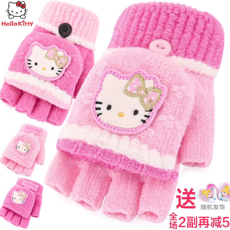 4ed855d6e Get Quotations · Hello kitty girls winter warm gloves half finger flip  gloves knitted wool baby child princess girls