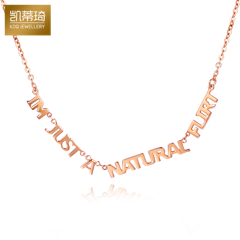 Hello kitty kay jewelry k gold chain letters chain one chain rose gold pendant necklace female gold chain