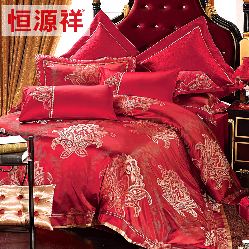 Heng yuan heng yuan xiang textile wedding bedding silk bed linen quilt kit ten sets of more than sets of red color