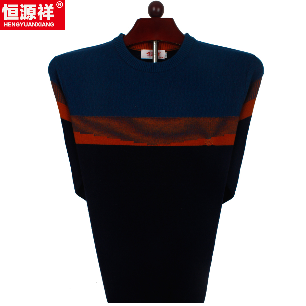 Heng yuan xiang pure new wool spell color sweater men young father fitted sweater heng yuan xiang pure wool sweater men
