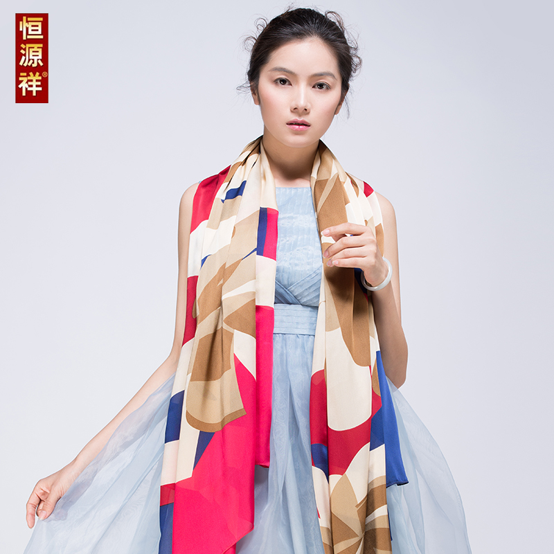 Heng yuan xiang upscale silk silk scarves spring european and american wild summer outside the anti purple oversized shawl dual