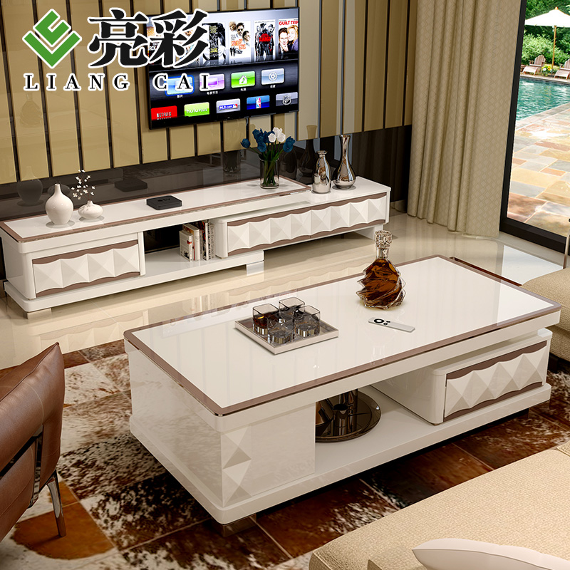 Herculite brightly colored modern minimalist small apartment living room cabinet tv cabinet coffee table combination living room furniture
