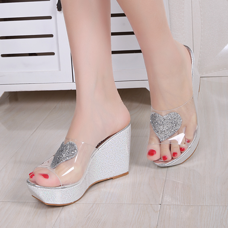 5d907544053 Get Quotations · Herd send 2016 summer new women s sandals slope with  sandals and slippers transparent love sexy fashion
