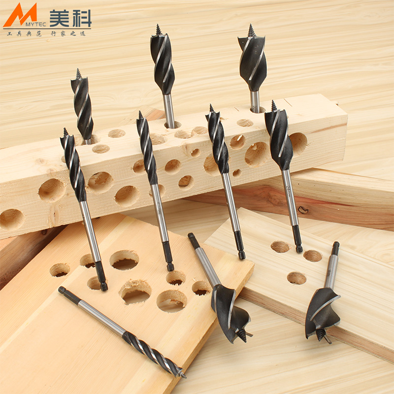 Hex shank lengthened four blade woodworking hole saw drill four slots open hole reaming drill twist drill wood woodworking tools