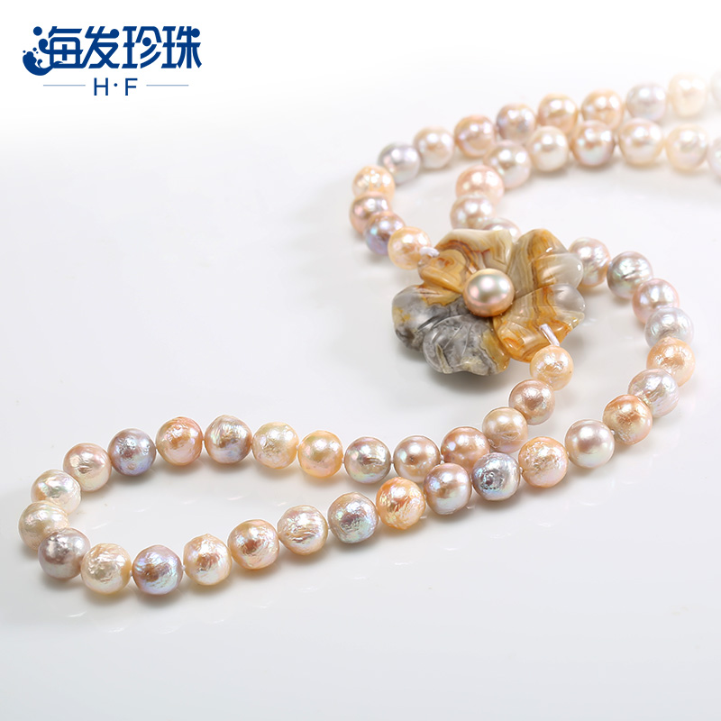 Hf/haifa 8-40m3 19mm baroque shaped freshwater pearl necklace glare genuine female fur clothing chain to send his girlfriend