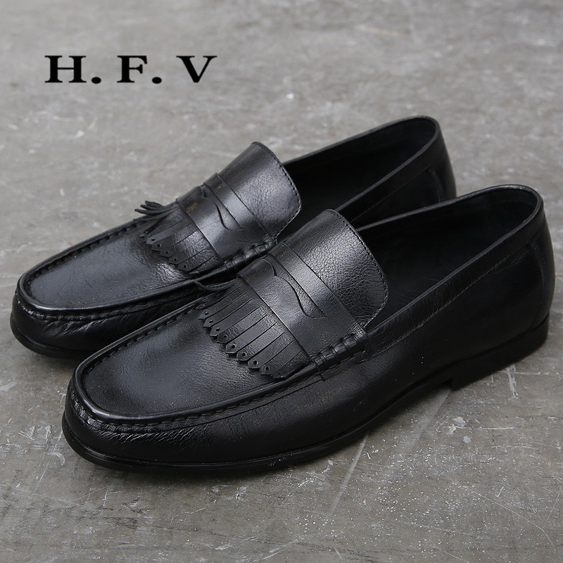 Hfv wild flat shoes 2016 new fall shoes breathable men's british style solid color tassel casual shoes men 6134