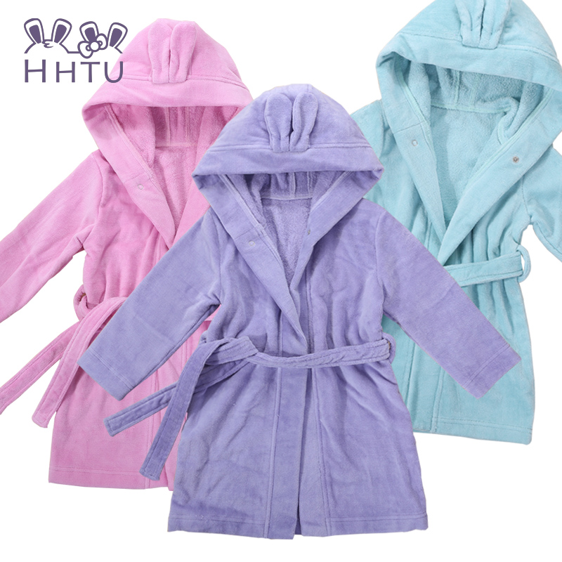 Hhtu cotton baby hooded bathrobe children bathrobe hooded bathrobe spring fall and winter thick toweling