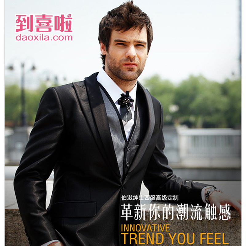 Hi friends of the shanghai zi bo classic men's suits custom-made wedding wedding wedding satin stitching british lun