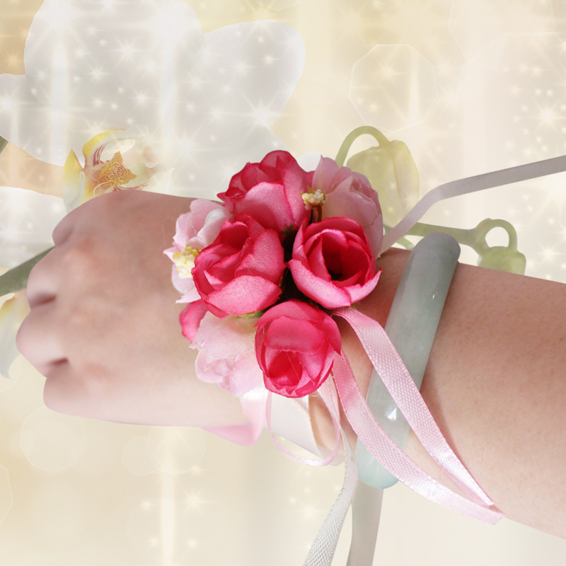 Hi string wedding celebration supplies wedding simulation korean bride wrist flower bridesmaid sisters hand flower corsage brooch fabric