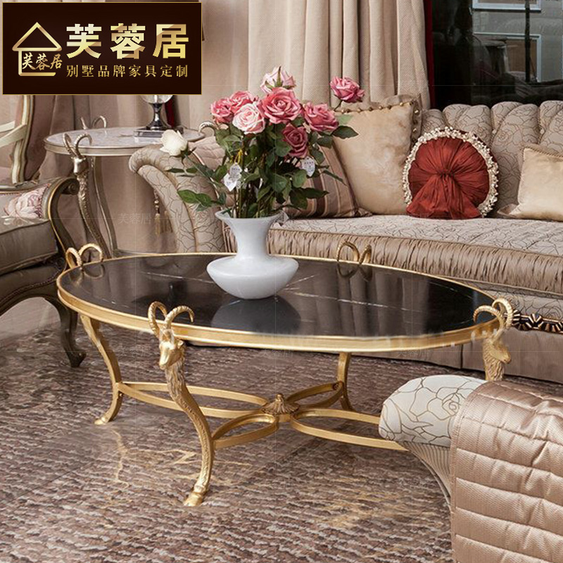Hibiscus habitat furniture lacasa neoclassical european gold and silver foil wood coffee table long table coffee table coffee table hotel furniture villa